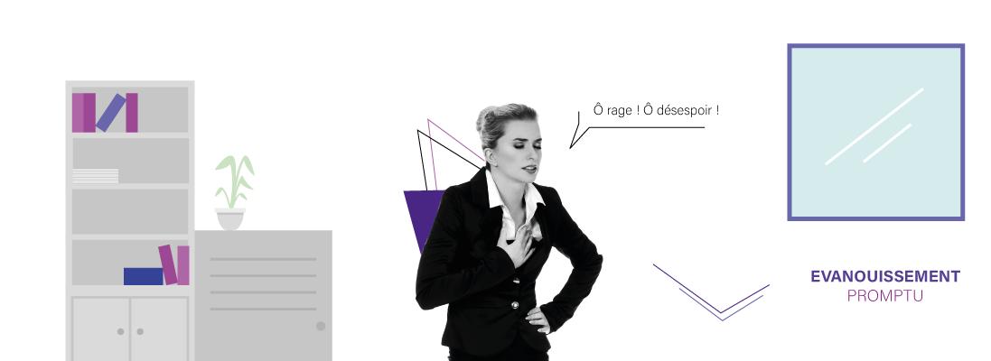 ENTETE---10-ASTUCES-POUR-RATER-SA-REUNION - entreprise - meeting - brainstorming - flat design - graphic design - employe - salarie - ordinateur - lunette - costard - plante - astuce - conseil - bonheur - bien etre - positivite - administratif - faire un point  - wan2bee - blog.wan2bee.com - wan2bee.com - femme - tailleur - évanouissement