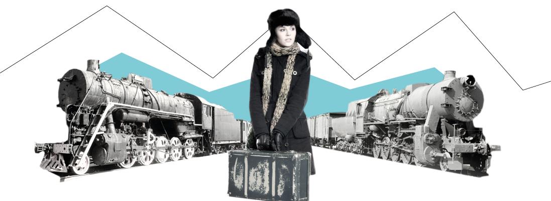 femme - manteau polaire - vielle valise - echarpe -bonnet fourrure - deux vieux trains - graphisme -minimalisme -  sncf - conduire - cheminot - train - ratp - transport - voyageur - voyage - transport - se déplacer - grève - grèviste - retard transport - wan2bee - blog.wan2bee - wan2bee.com